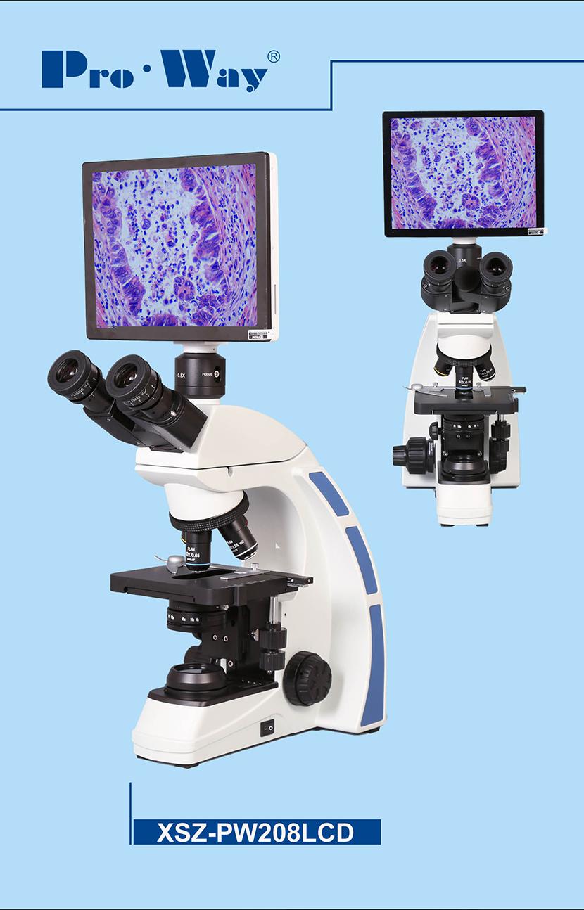 Microscopio ottico trinoculare XSZ-PW208LCD