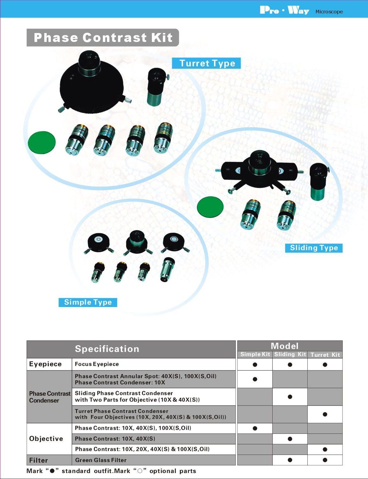 Kit per Epi-Fluorescenza e Contrasto di Fase